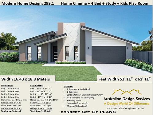 Modern skillion roof  4 Bedroom House Plans:299.1 | Concept House Plan Set