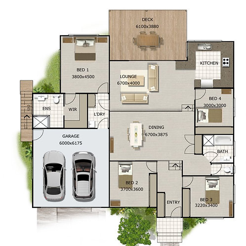 266KR Split Level | 4 Bedroom + Garage: 226.8 m2  | Preliminary House Plans