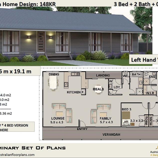 3 Bedroom Homestead House Plan148KR