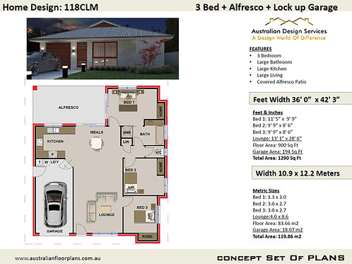 118 CLM Australian 3 Bedroom Floor Plan : 119.86 m2 | Preliminary House Pl