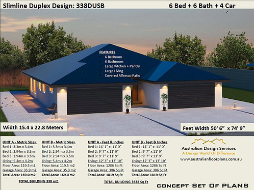 Duplex House Plans Design 338 DUSB | 6 Bedroom + 6 Bath 4 Car Garage