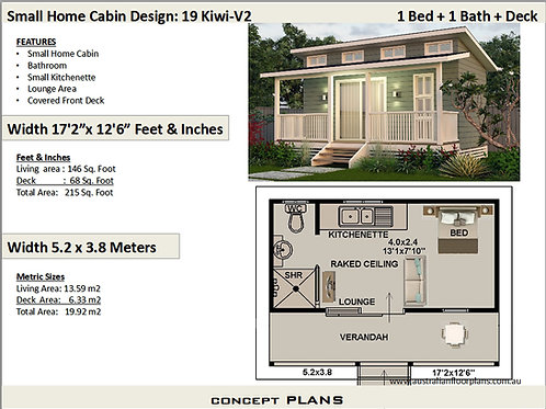 19 Kiwi-V2-Small 1 Bedroom Cabin House Plan:19.2 m2 |  215 Sq. Ft.