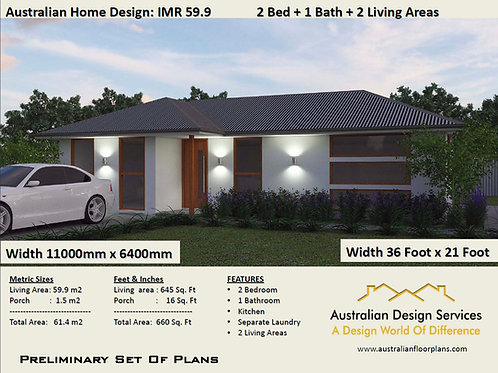 59.9imr | 2 Bed House Plan- 61.4m2 | Preliminary House Plan Set-4 Sale