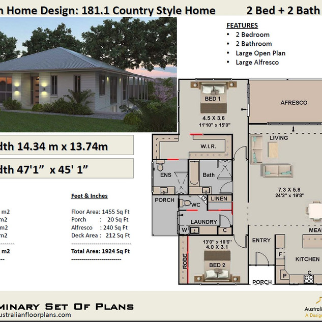 Country Style 2 Bedroom House Plan