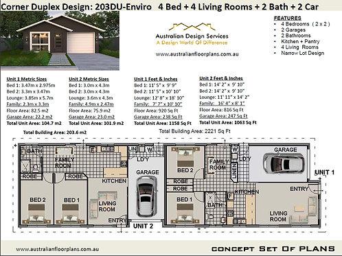 Small Lot Duplex 20DUENVIRO 4 Bed + 2 Bath + 2 Cars Duplex Design