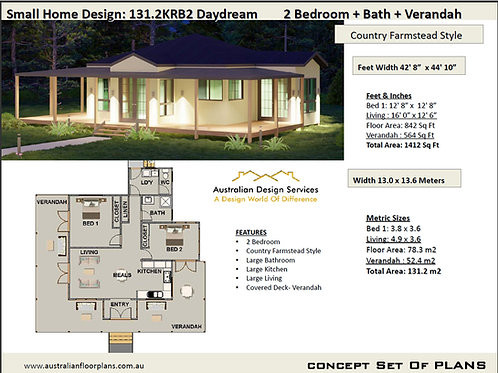 2 Bedroom Country Ranch House Plan:131.2KRB2