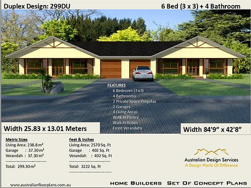 299 DU | 6 Bed + 4 Bath : 299.30 m2 3222 Sq. Feet | Duplex House Plans