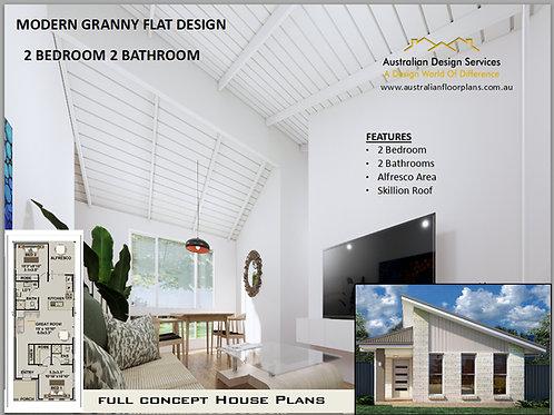 Granny Flat 2 Bed + 2 Bath Small House Plan:94.2GFLH | Concept House Plan Set