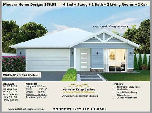 Modern Home Design: 265.58  : 4 Bed + 2 Bath