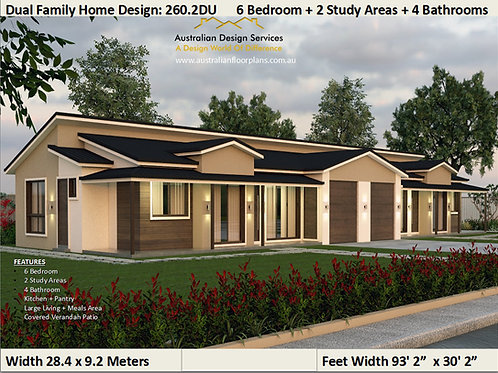 260.2DU 6 Bed + 4 Bath + 2 Cars Duplex House Plans Australia
