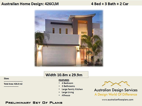 426 CLM | Narrow 2 Storey 4 Bed+3 Bath: 426.0 m2 | Preliminary Home Plan Sale