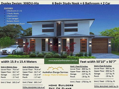306DU Modern 2 storey Duplex / Townhouse design | Concept House Plans