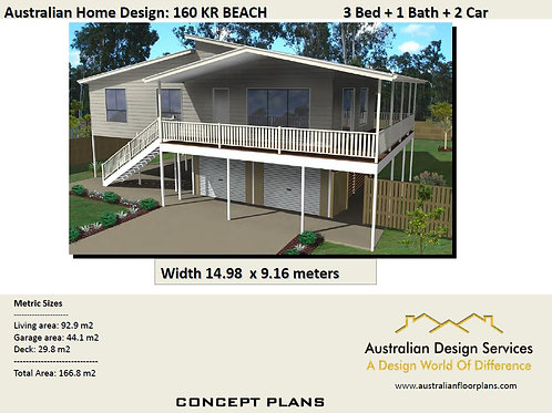 166 KR Beach | Sea Change 2 Storey 3 Bed : 150.3 m2 | Preliminary House Plans