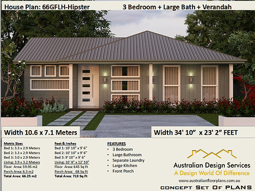 Modern 3 Bedroom House Plan:66.5 m2 | 66GRLH-Hipster Preliminary House Plan Set