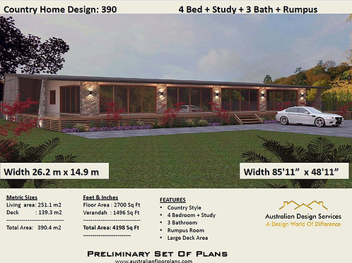 390 hs - 4 Bed Acreage Home : 395.4 m2 | Preliminary House Plans