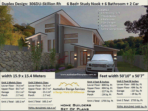 306DURH Skillion 2 storey Duplex / Townhouse design | Concept House Plans