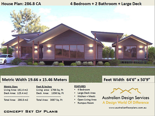 286.8 CA - 4 Bed Acreage Home : 286.8 m2  (3087 Sq. Foot ) House Plans