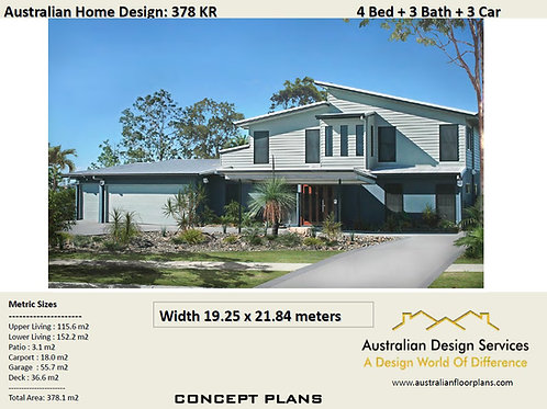 House Plan 2 Storey 4 Bedroom + 3 Car Skillion roof | 378 KR