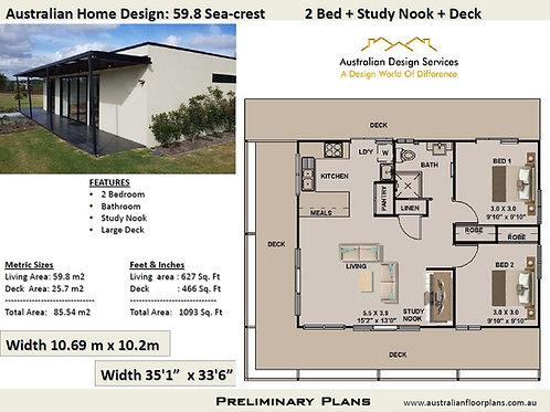 59.8 Seacrest | 2 Bed House Plan-85.54 m2 | Preliminary House Plan Set- 4 Sale