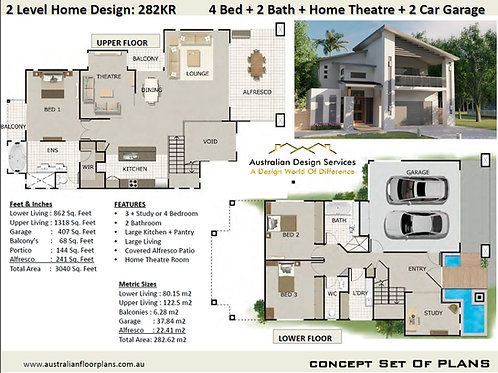 SLOPING LAND 2 storey 3 bedroom/ 4 bed house plans: 282 KR House Plans