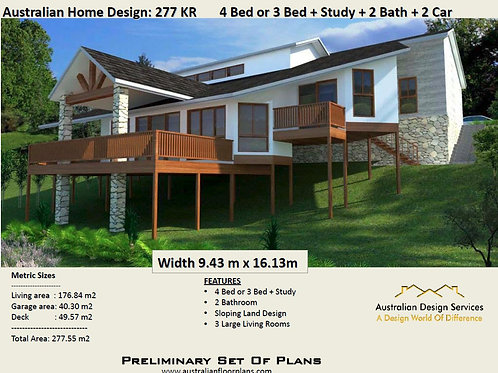 4 Bedroom house plans for sloping blocks with views | 277KR  House plan