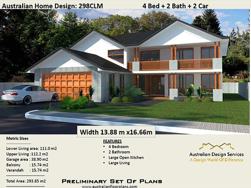 2 storey 3 bedroom house plans:293.85m2 | 298 CLM House Plans
