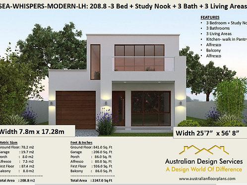 208.8 Modern Narrow Lot 2 story home design LH | Preliminary House Plans