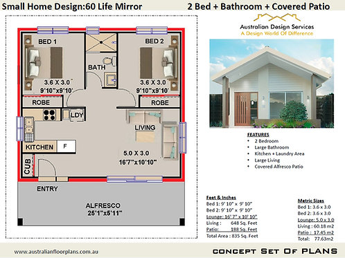 2 Bedroom House Plan:60 m2- 700 Sq. Foot | 60 Life Mirror House Plan Se