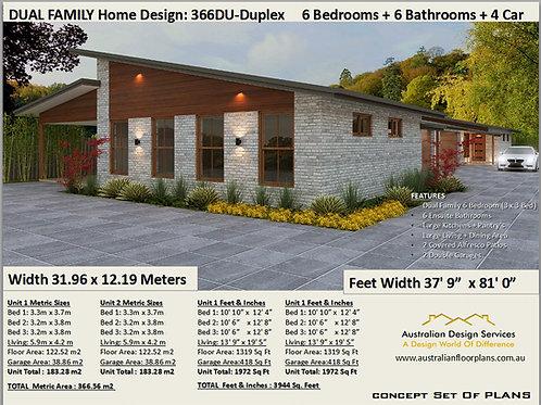 Duplex Design  House Plan 366 DU| 6 Bed + 6 Bath+ 4 Car : 366.0 m2  |