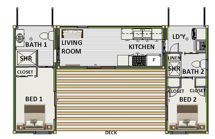 2 bedroom 2 bathroom shipping container