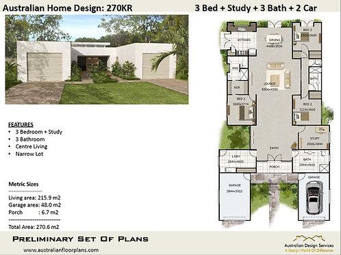 270 KR-3 Bed + Garage Plan: 270.0 m2 | Preliminary House Plan Set