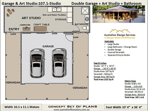 Art Studio + Double Garage Design:107.1Studio