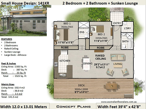2 Bedroom House Plan:141KR
