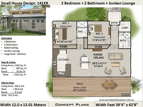 2 Bedroom House Plan:141KR