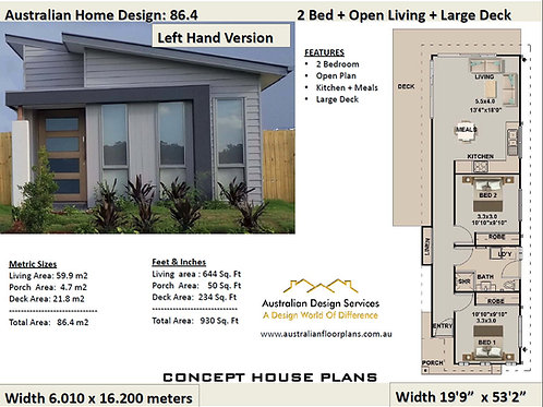 86.4-Skillion 2 Bed House Plan:59.9 m2 Living | Concept House Plans