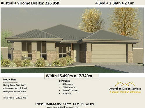 226.9SB | Modern 4 Bed + Garage: 226.9 m2  | Preliminary House Plans