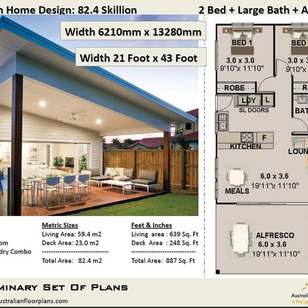 82.40-Skillion Modern Free 2 Bed House Plan Australia