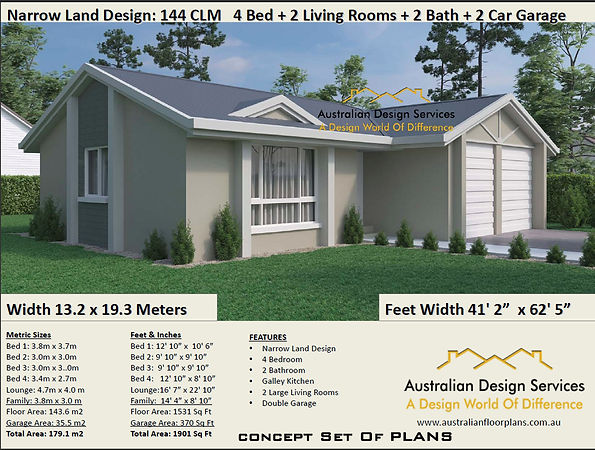 Narrow-Lot-Land-Kit Home House-Plan