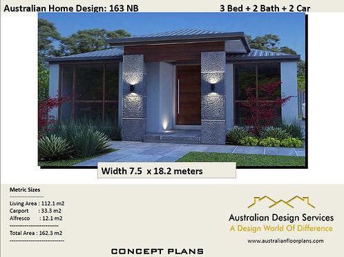163 SB Narrow Lot 3 Bedroom Floor Plan :162.3 m2 | Preliminary House Plan Set
