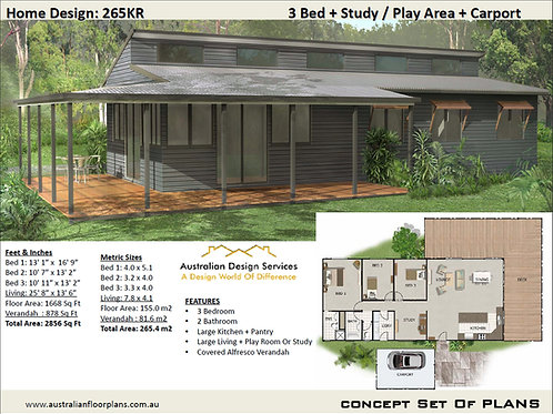 Country House Plans Design:265KR