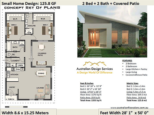 Small Home Design 2 Bed + 2 Bath House Plan:125.8 | Concept House