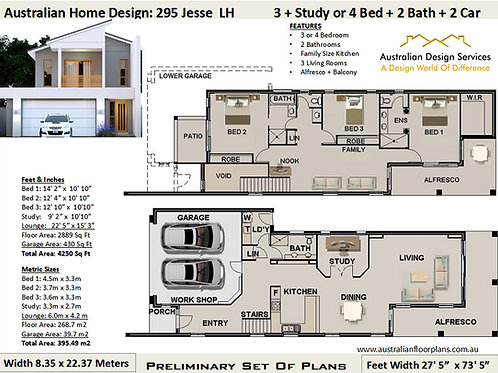 295 CLM | Narrow 2 Storey 3 or 4 Bed+3 Bath+2 Car: 295.0 m2  | Preliminary Plans