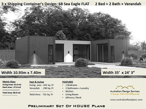 2 Bedroom Shipping Container Home Plan:68 Sea Eagle Flat Roof Construction House