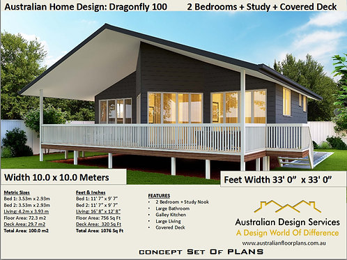 2 Bed + Study House Plan:100 m2 | Granny Flat Preliminary House Plan Set