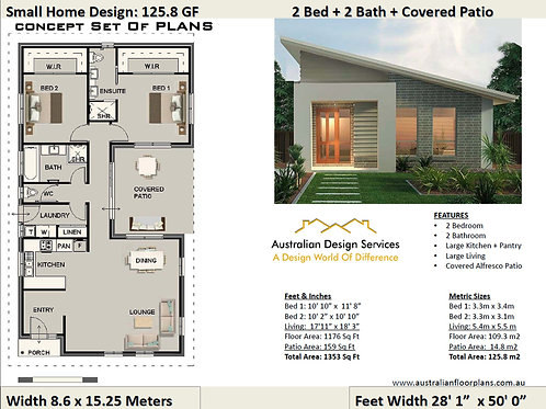 Small House Design | 2 Bedroom + 2 Ba