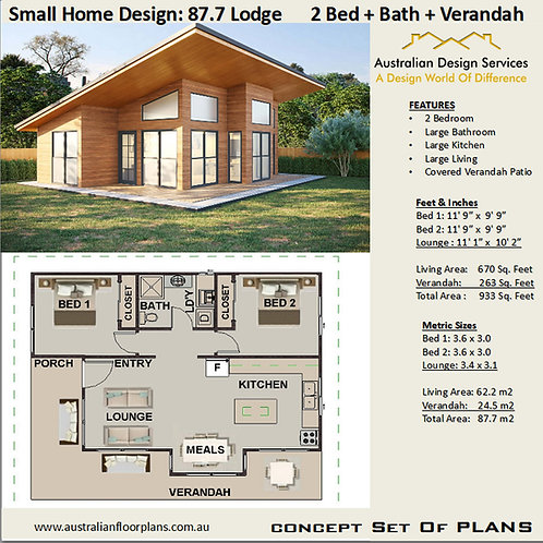 Modern Granny Flat Home Design 2 bedroom : 87.7 Lodge