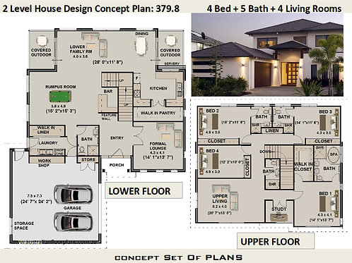 Modern 2 Level Home Design 4 Bed + Study + 5 Bath + 4 Living Areas :379.8
