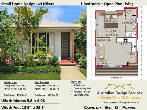 49 Nikara | Small 1 Bed House Plan- 49.42 m2 | Preliminary House Plan Set-4 Sale
