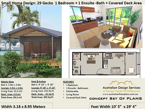 Small and Tiny 1 Bed House Plan- 28.2 m2 For Sale