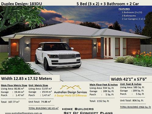 5 BEDROOM !  dual living house plans  |  183DK House Plan Set